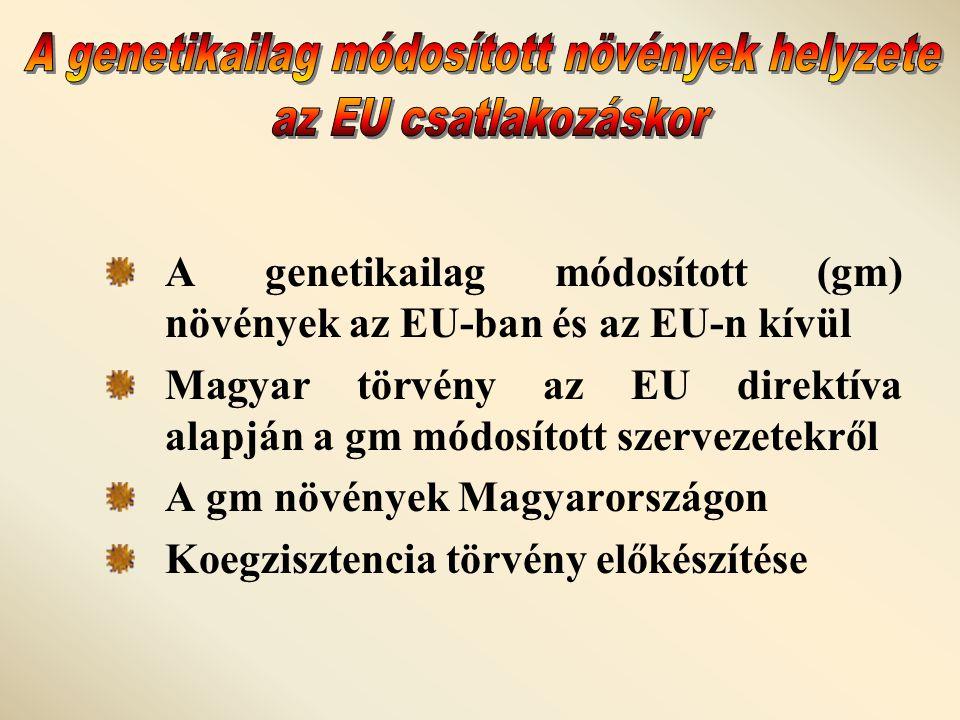 A genetikailag módosított (gm) növények az EU-ban és az EU-n kívül Magyar törvény az EU direktíva alapján a gm módosított szervezetekről A gm növények Magyarországon Koegzisztencia törvény előkészítése