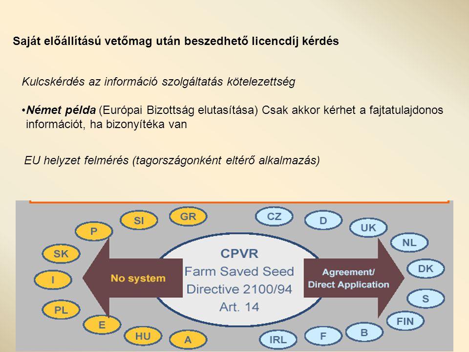Saját előállítású vetőmag után beszedhető licencdíj kérdés Kulcskérdés az információ szolgáltatás kötelezettség Német példa (Európai Bizottság elutasítása) Csak akkor kérhet a fajtatulajdonos információt, ha bizonyítéka van EU helyzet felmérés (tagországonként eltérő alkalmazás)