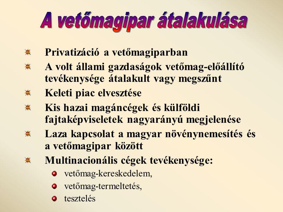 Privatizáció a vetőmagiparban A volt állami gazdaságok vetőmag-előállító tevékenysége átalakult vagy megszűnt Keleti piac elvesztése Kis hazai magáncégek és külföldi fajtaképviseletek nagyarányú megjelenése Laza kapcsolat a magyar növénynemesítés és a vetőmagipar között Multinacionális cégek tevékenysége: vetőmag-kereskedelem, vetőmag-termeltetés, tesztelés