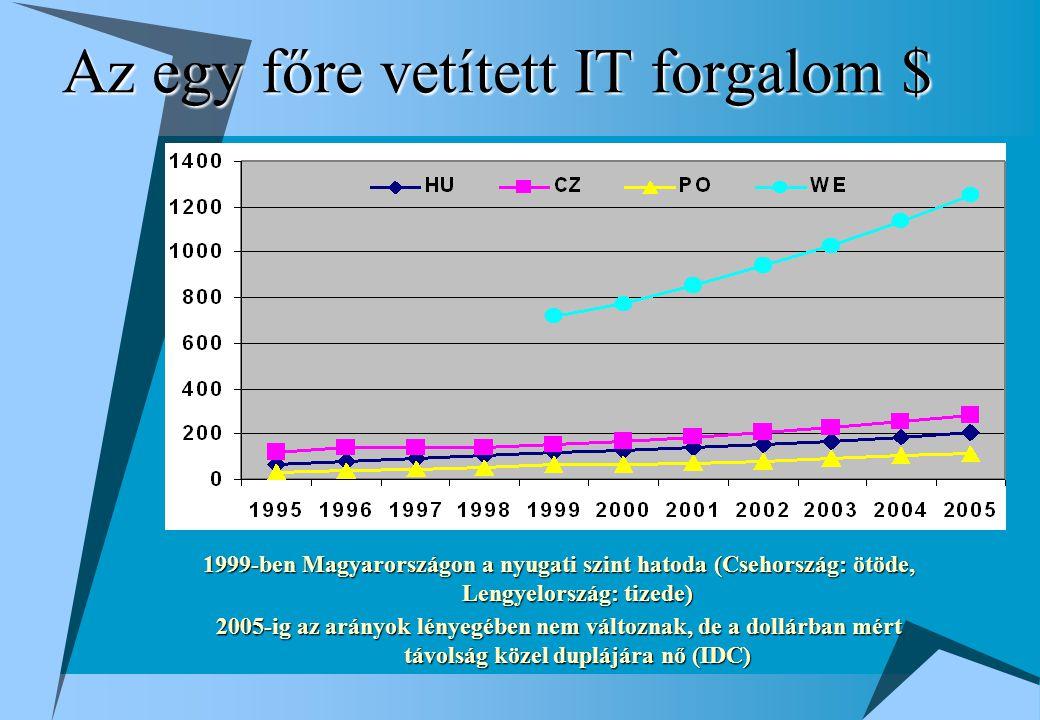 Az egy főre vetített IT forgalom $ 1999-ben Magyarországon a nyugati szint hatoda (Csehország: ötöde, Lengyelország: tizede) 2005-ig az arányok lényegében nem változnak, de a dollárban mért távolság közel duplájára nő (IDC)