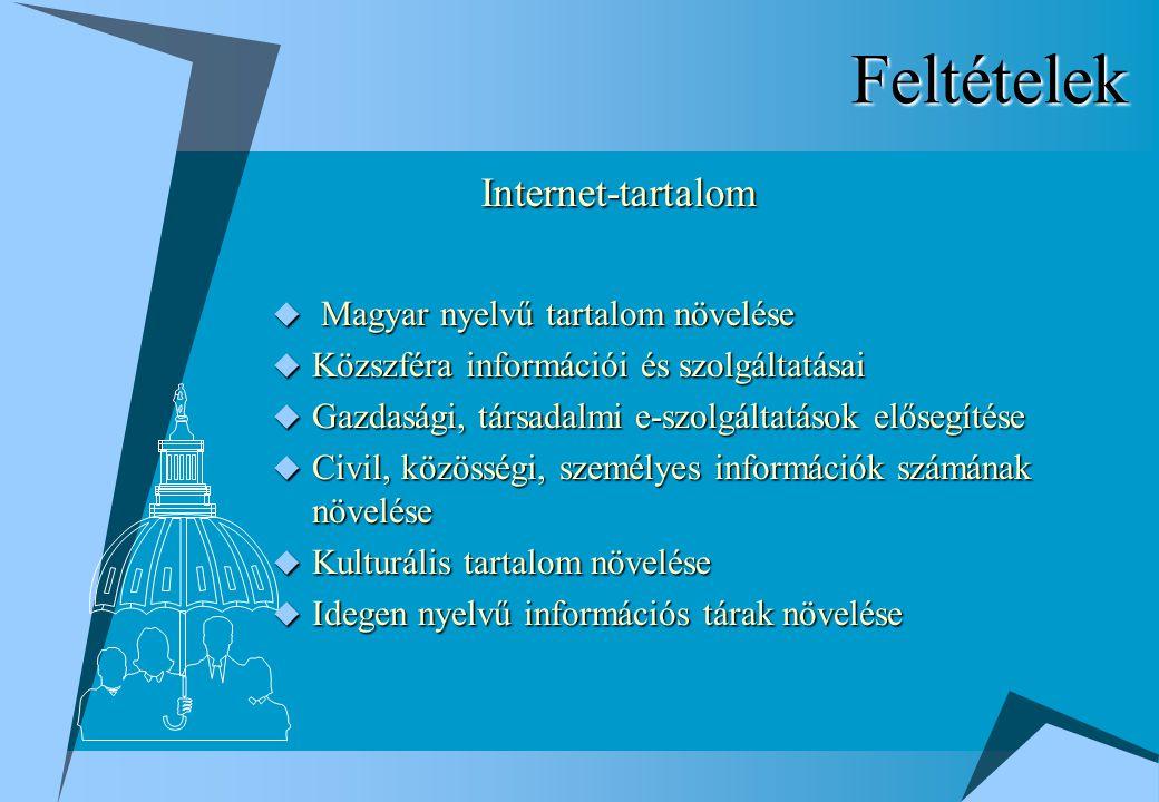Feltételek  Magyar nyelvű tartalom növelése  Közszféra információi és szolgáltatásai  Gazdasági, társadalmi e-szolgáltatások elősegítése  Civil, közösségi, személyes információk számának növelése  Kulturális tartalom növelése  Idegen nyelvű információs tárak növelése Internet-tartalom