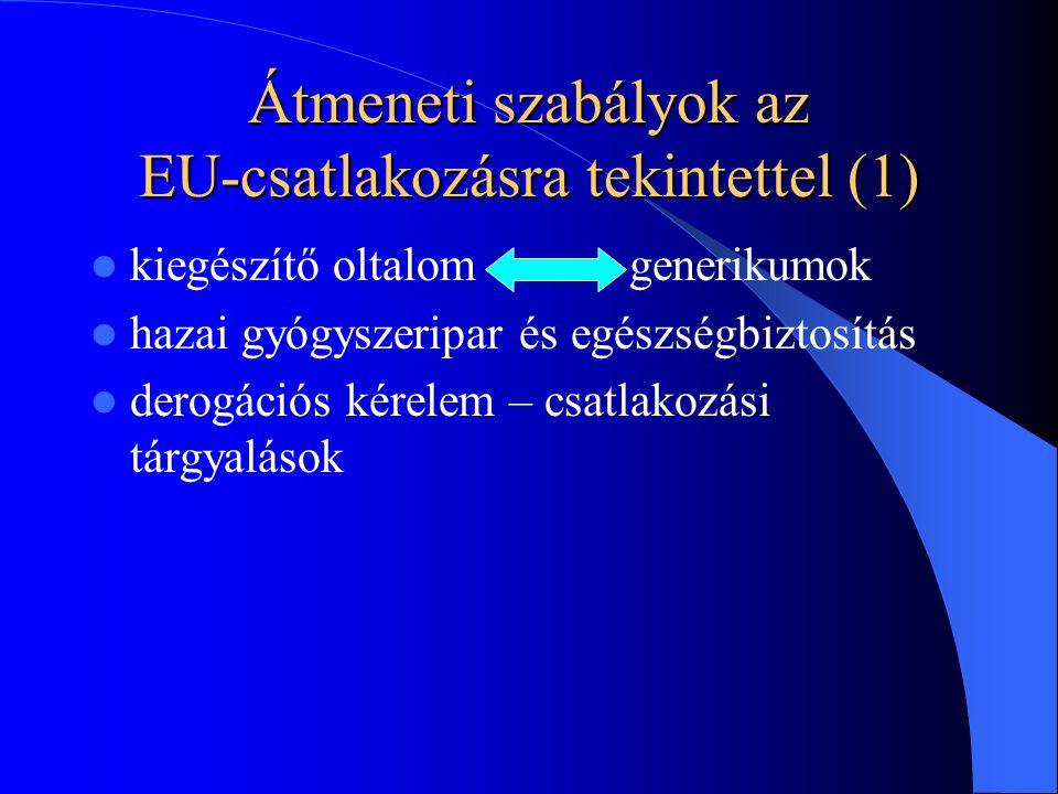 Átmeneti szabályok az EU-csatlakozásra tekintettel (1) kiegészítő oltalom generikumok hazai gyógyszeripar és egészségbiztosítás derogációs kérelem – csatlakozási tárgyalások