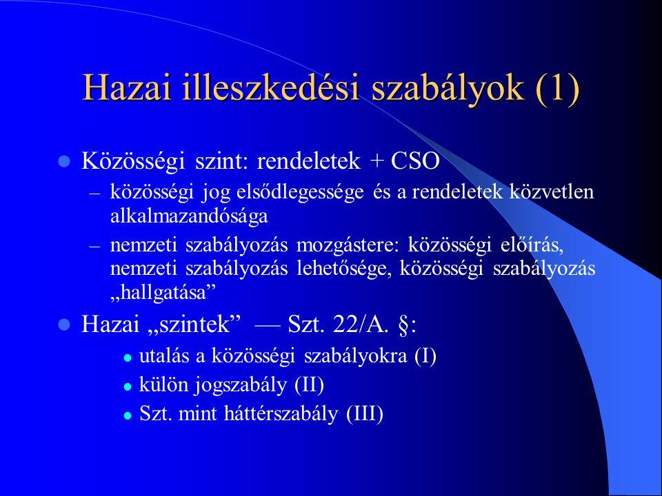 """Hazai illeszkedési szabályok (1) Közösségi szint: rendeletek + CSO – közösségi jog elsődlegessége és a rendeletek közvetlen alkalmazandósága – nemzeti szabályozás mozgástere: közösségi előírás, nemzeti szabályozás lehetősége, közösségi szabályozás """"hallgatása Hazai """"szintek — Szt."""