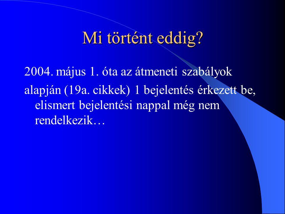 Mi történt eddig. 2004. május 1. óta az átmeneti szabályok alapján (19a.