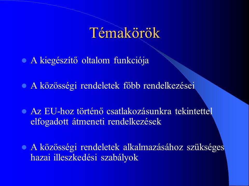 Témakörök A kiegészítő oltalom funkciója A közösségi rendeletek főbb rendelkezései Az EU-hoz történő csatlakozásunkra tekintettel elfogadott átmeneti rendelkezések A közösségi rendeletek alkalmazásához szükséges hazai illeszkedési szabályok