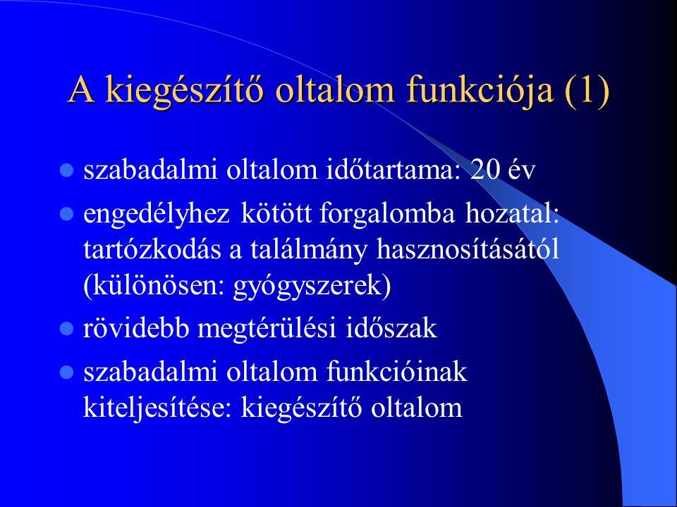 A kiegészítő oltalom funkciója (2) jelentős mértékű K+F befektetések: originális gyógyszeripar 1980-as évektől: USA, Japán, majd Franciaország, Olaszország Az Európai Közösségben: – 1993: gyógyszerek (1768/92/EGK rendelet) – 1996: növényvédő szerek (1610/96/EK rendelet) generikus gyógyszeripar érdekei?