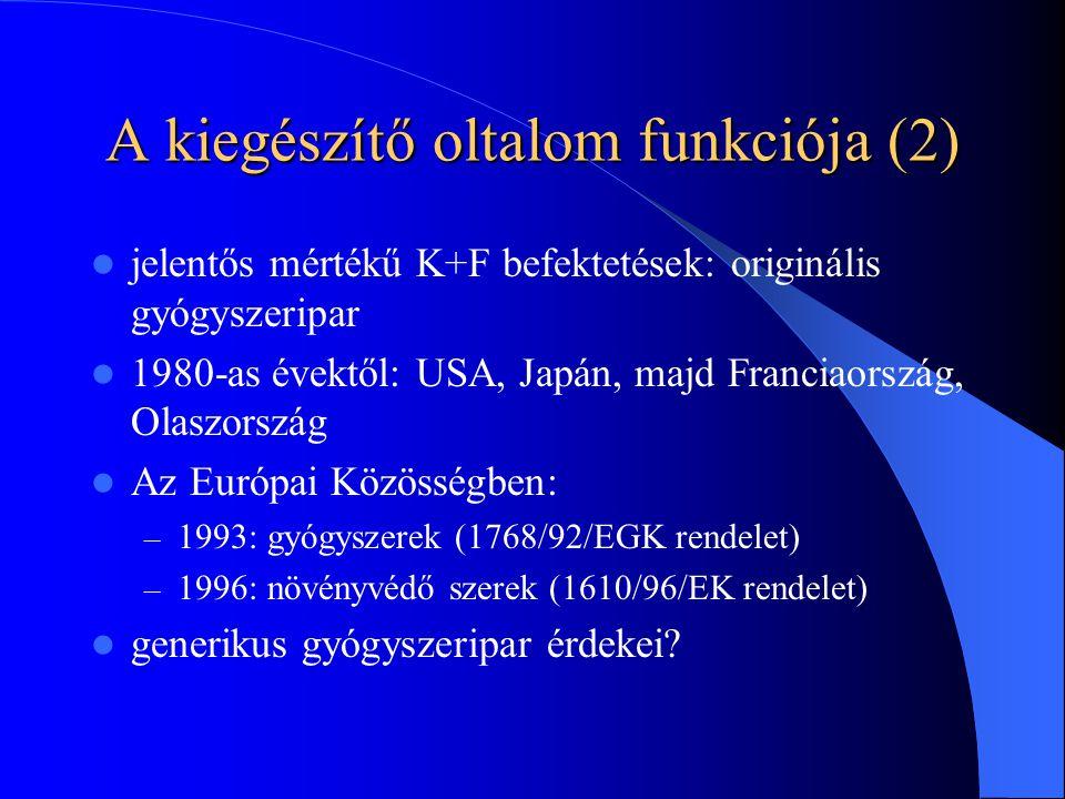 A kiegészítő oltalom funkciója (2) jelentős mértékű K+F befektetések: originális gyógyszeripar 1980-as évektől: USA, Japán, majd Franciaország, Olaszország Az Európai Közösségben: – 1993: gyógyszerek (1768/92/EGK rendelet) – 1996: növényvédő szerek (1610/96/EK rendelet) generikus gyógyszeripar érdekei