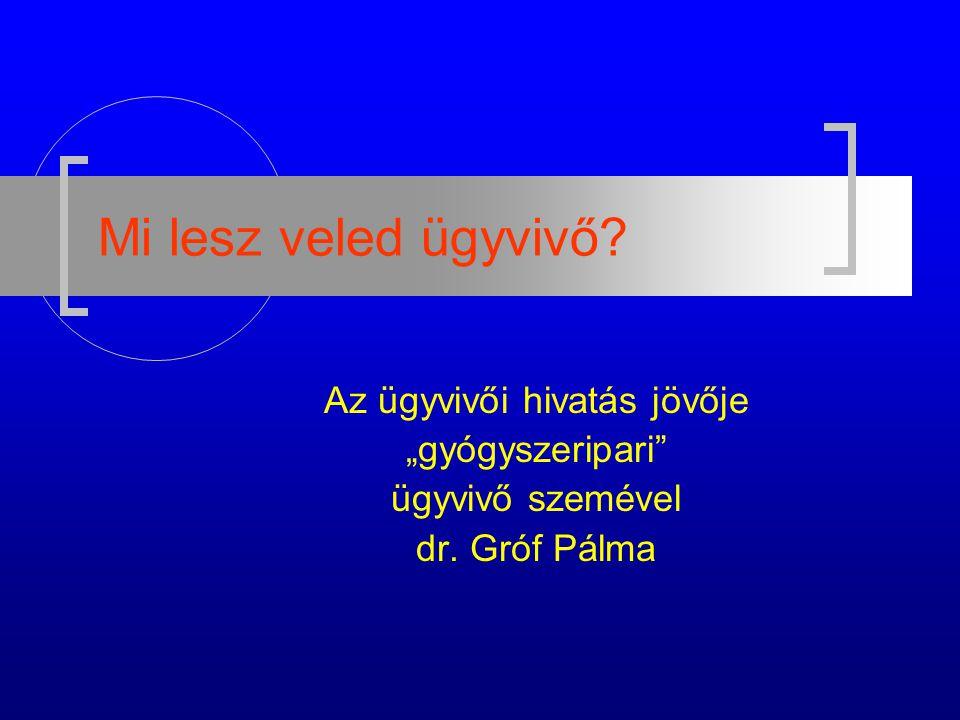 """Mi lesz veled ügyvivő Az ügyvivői hivatás jövője """"gyógyszeripari ügyvivő szemével dr. Gróf Pálma"""