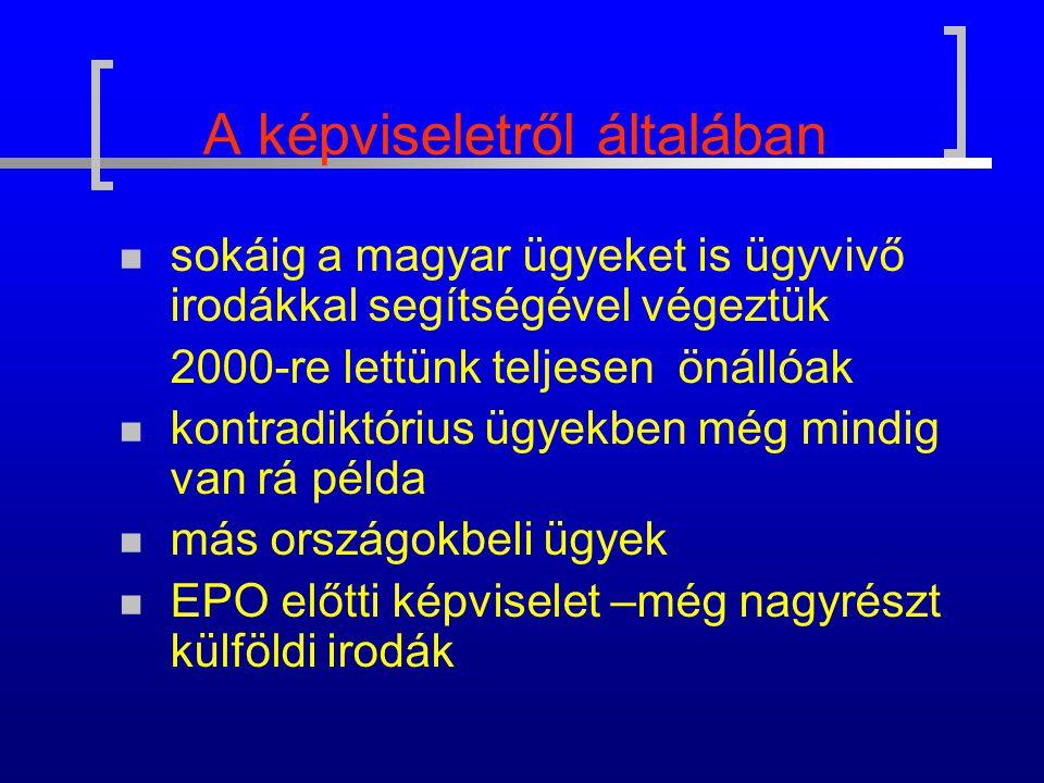 A képviseletről általában sokáig a magyar ügyeket is ügyvivő irodákkal segítségével végeztük 2000-re lettünk teljesen önállóak kontradiktórius ügyekben még mindig van rá példa más országokbeli ügyek EPO előtti képviselet –még nagyrészt külföldi irodák