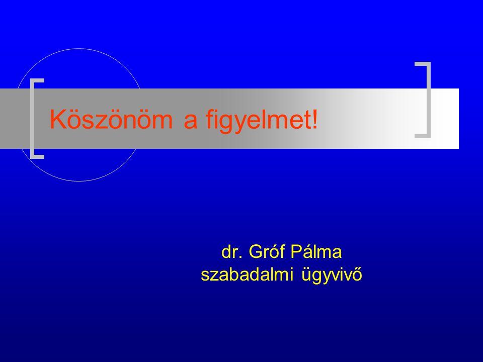 Köszönöm a figyelmet! dr. Gróf Pálma szabadalmi ügyvivő
