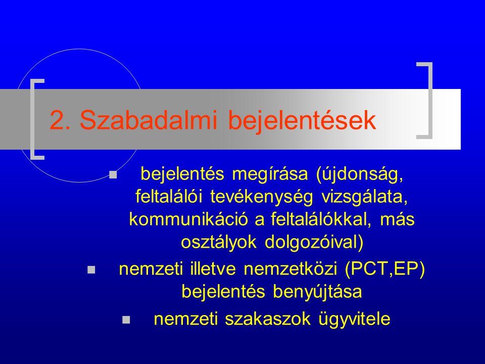 2. Szabadalmi bejelentések bejelentés megírása (újdonság, feltalálói tevékenység vizsgálata, kommunikáció a feltalálókkal, más osztályok dolgozóival)