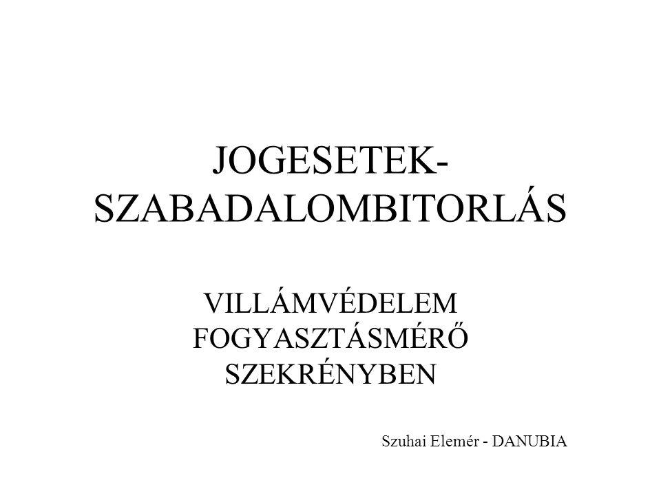 JOGESETEK- SZABADALOMBITORLÁS VILLÁMVÉDELEM FOGYASZTÁSMÉRŐ SZEKRÉNYBEN Szuhai Elemér - DANUBIA