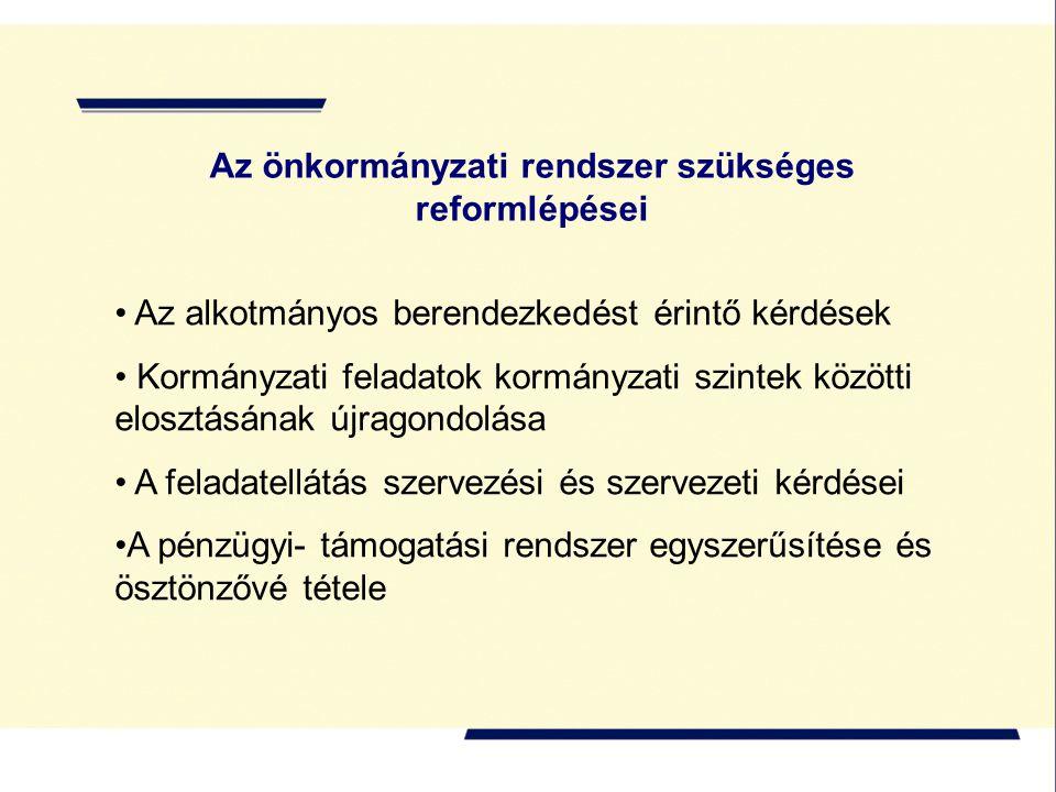 Az alkotmányos berendezkedést érintő kérdések Kormányzati feladatok kormányzati szintek közötti elosztásának újragondolása A feladatellátás szervezési és szervezeti kérdései A pénzügyi- támogatási rendszer egyszerűsítése és ösztönzővé tétele Az önkormányzati rendszer szükséges reformlépései