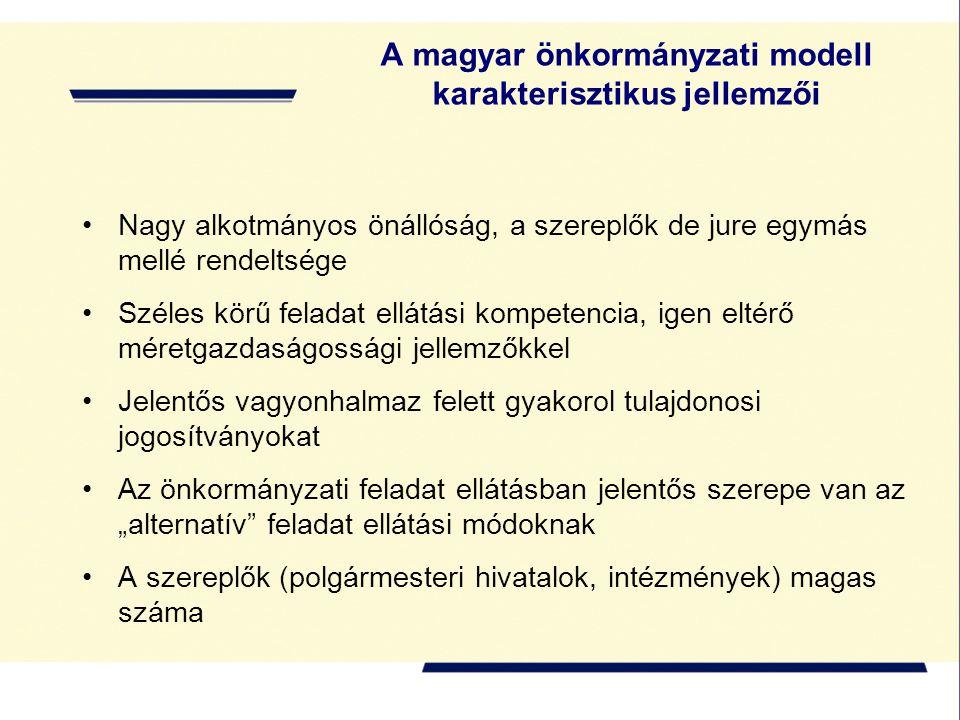 """A magyar önkormányzati modell karakterisztikus jellemzői Nagy alkotmányos önállóság, a szereplők de jure egymás mellé rendeltsége Széles körű feladat ellátási kompetencia, igen eltérő méretgazdaságossági jellemzőkkel Jelentős vagyonhalmaz felett gyakorol tulajdonosi jogosítványokat Az önkormányzati feladat ellátásban jelentős szerepe van az """"alternatív feladat ellátási módoknak A szereplők (polgármesteri hivatalok, intézmények) magas száma"""
