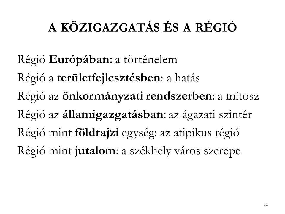 A KÖZIGAZGATÁS ÉS A RÉGIÓ Régió Európában: a történelem Régió a területfejlesztésben: a hatás Régió az önkormányzati rendszerben: a mítosz Régió az államigazgatásban: az ágazati szintér Régió mint földrajzi egység: az atipikus régió Régió mint jutalom: a székhely város szerepe 11
