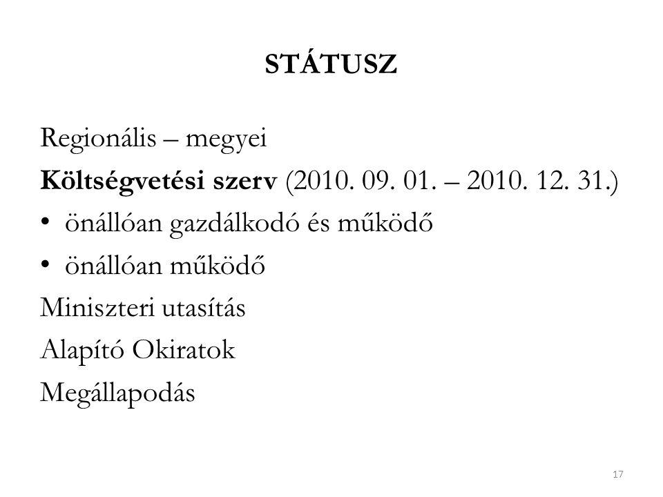 STÁTUSZ Regionális – megyei Költségvetési szerv (2010.
