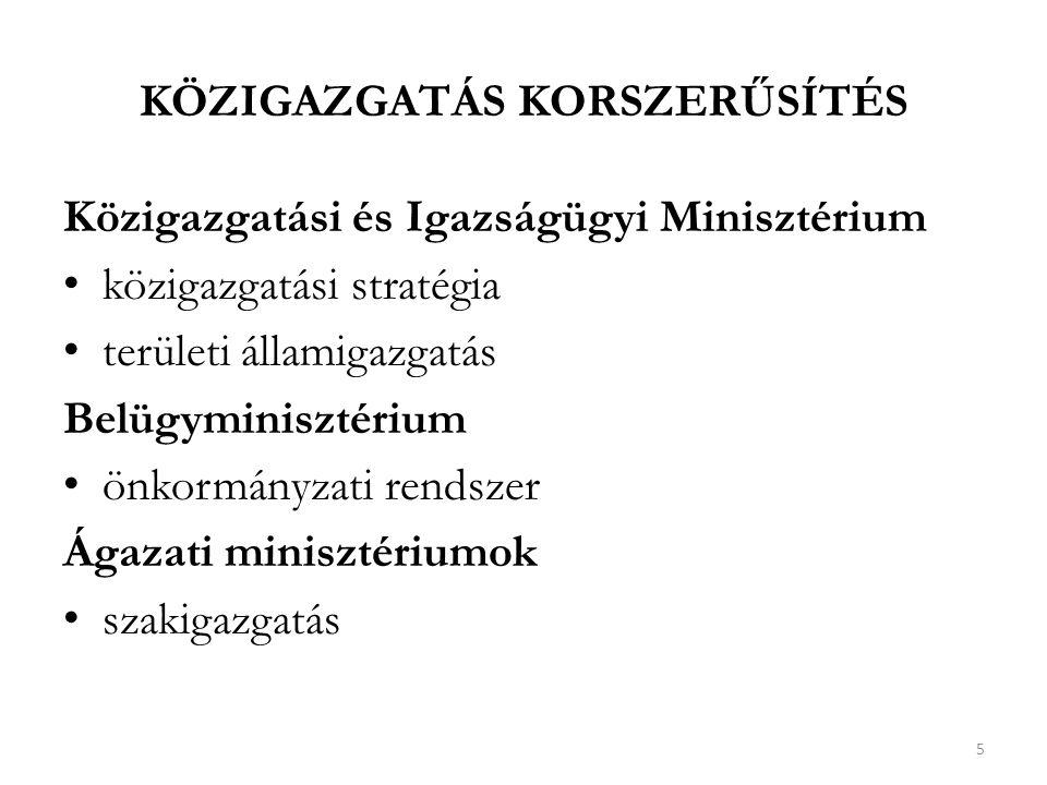 KÖZIGAZGATÁS KORSZERŰSÍTÉS Közigazgatási és Igazságügyi Minisztérium közigazgatási stratégia területi államigazgatás Belügyminisztérium önkormányzati rendszer Ágazati minisztériumok szakigazgatás 5
