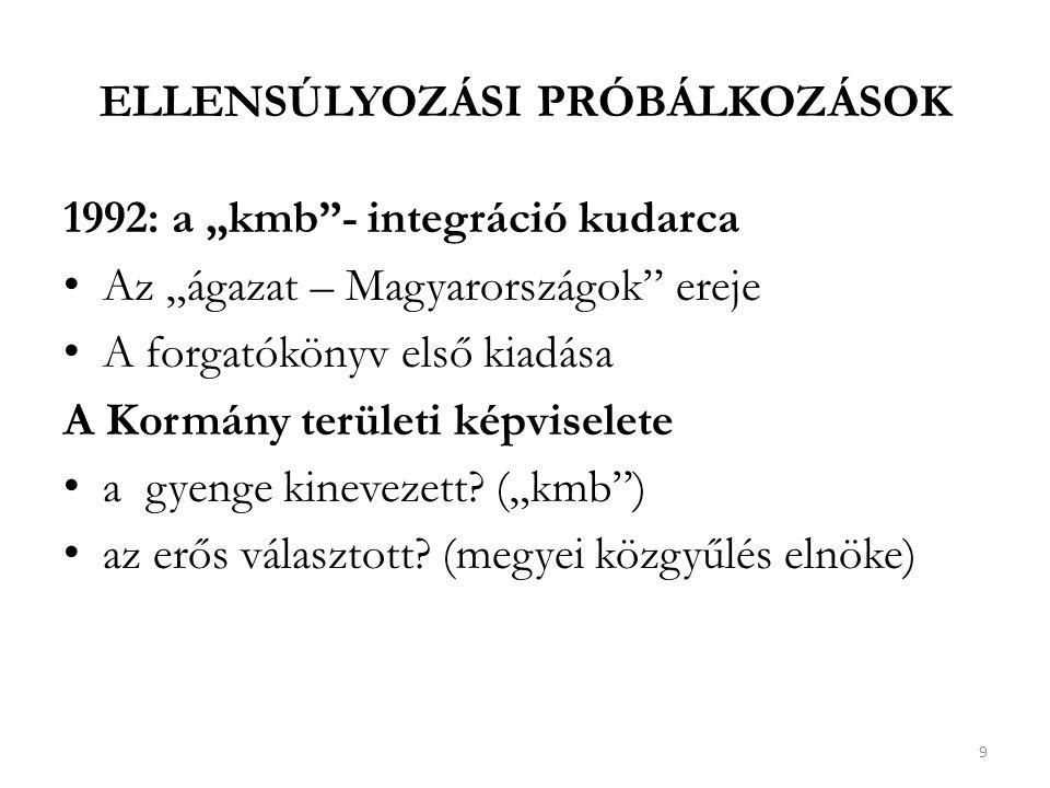 """ELLENSÚLYOZÁSI PRÓBÁLKOZÁSOK 1992: a """"kmb - integráció kudarca Az """"ágazat – Magyarországok ereje A forgatókönyv első kiadása A Kormány területi képviselete a gyenge kinevezett."""