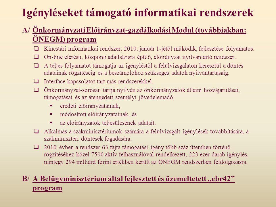 Igényléseket támogató informatikai rendszerek A/Önkormányzati Előirányzat-gazdálkodási Modul (továbbiakban: ÖNEGM) program  Kincstári informatikai re