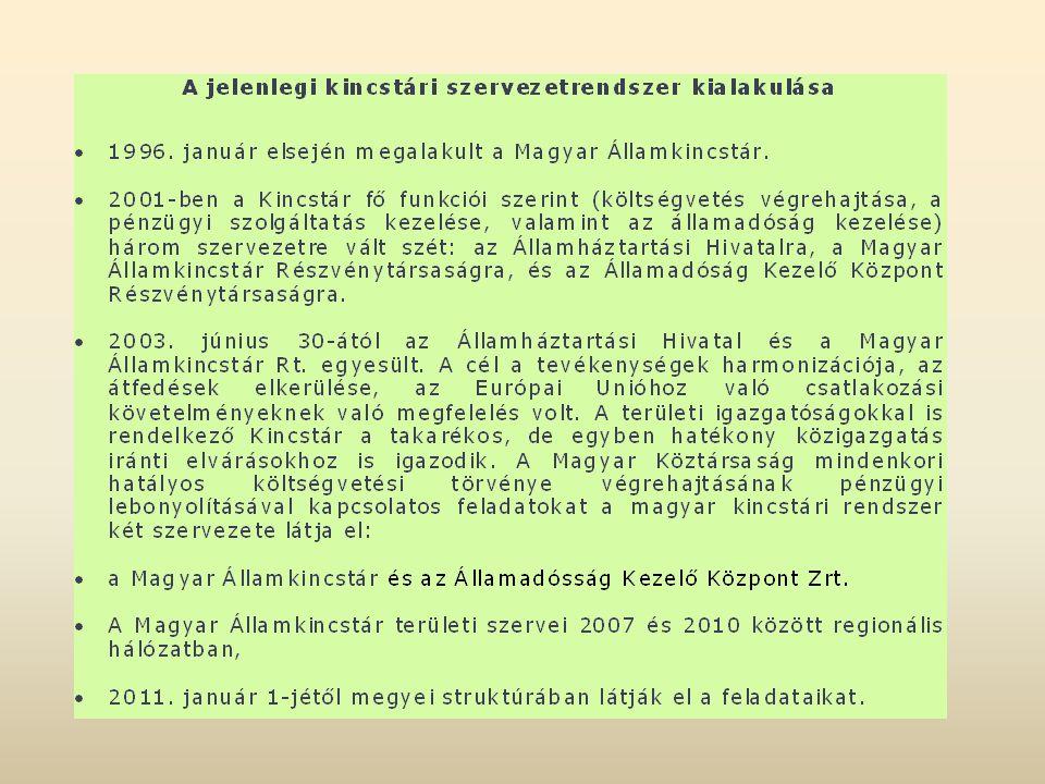 A Magyar Államkincstár és az önkormányzatok kapcsolata  A Kincstár önálló jogi személyiséggel rendelkező, országos hatáskörű, önállóan működő és gazdálkodó, központi költségvetési szerv.