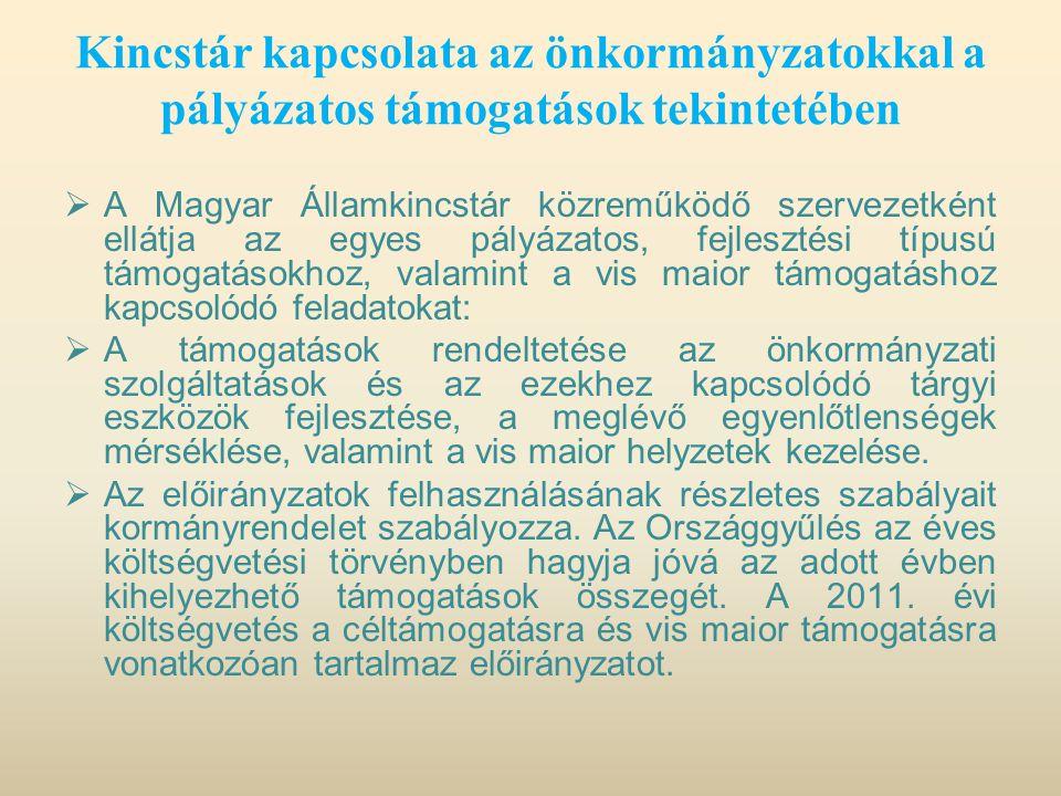 Kincstár kapcsolata az önkormányzatokkal a pályázatos támogatások tekintetében  A Magyar Államkincstár közreműködő szervezetként ellátja az egyes pál