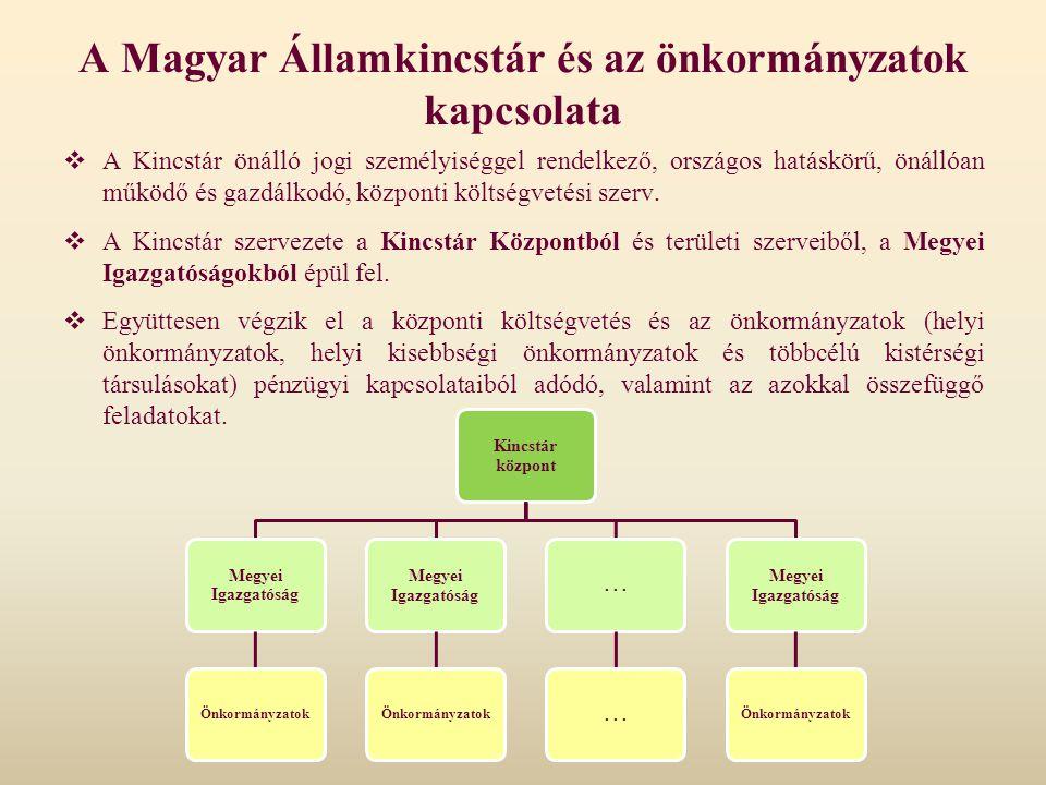 A Magyar Államkincstár és az önkormányzatok kapcsolata  A Kincstár önálló jogi személyiséggel rendelkező, országos hatáskörű, önállóan működő és gazd