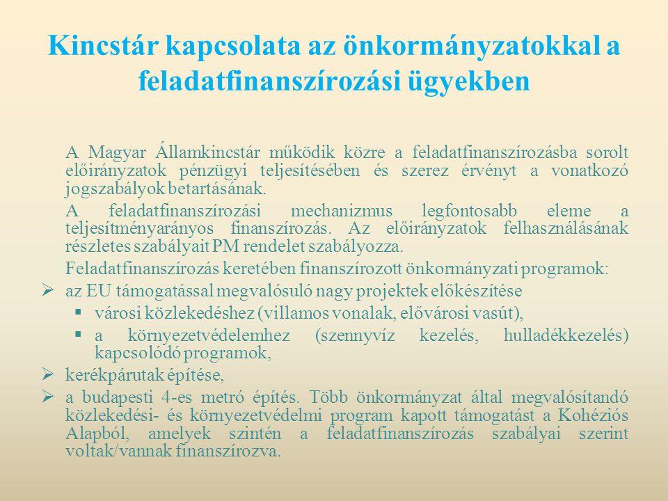 Kincstár kapcsolata az önkormányzatokkal a feladatfinanszírozási ügyekben A Magyar Államkincstár működik közre a feladatfinanszírozásba sorolt előirán