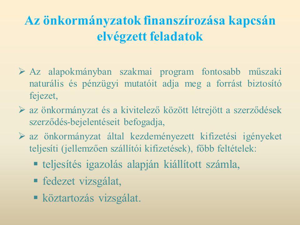 Az önkormányzatok finanszírozása kapcsán elvégzett feladatok  Az alapokmányban szakmai program fontosabb műszaki naturális és pénzügyi mutatóit adja
