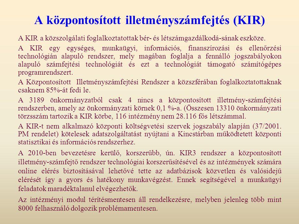 A központosított illetményszámfejtés (KIR) A KIR a közszolgálati foglalkoztatottak bér- és létszámgazdálkodá-sának eszköze. A KIR egy egységes, munkaü