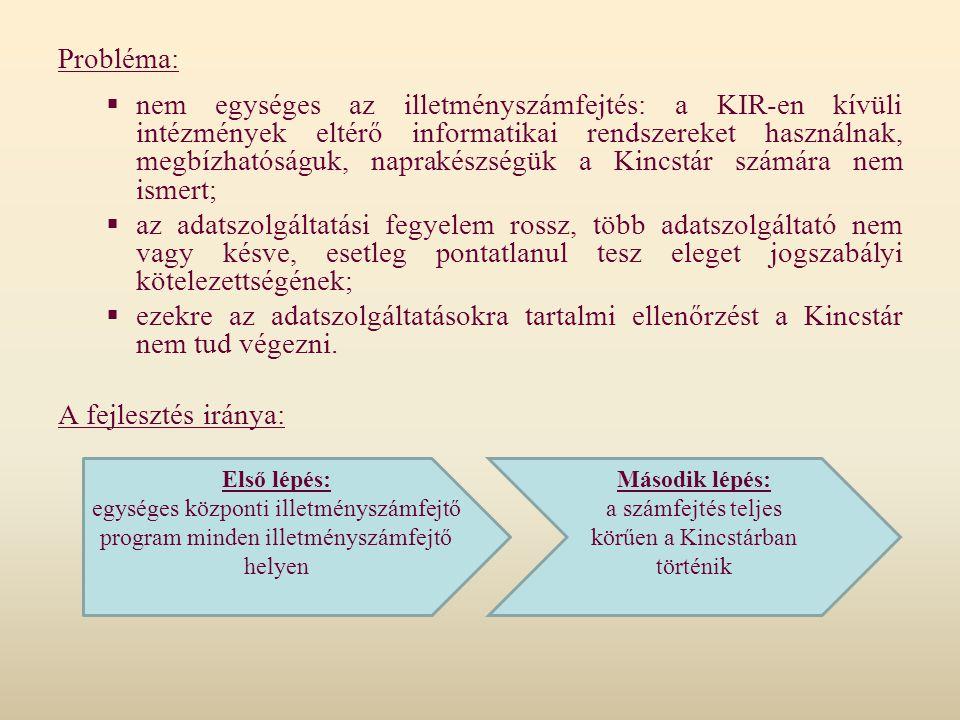 Probléma:  nem egységes az illetményszámfejtés: a KIR-en kívüli intézmények eltérő informatikai rendszereket használnak, megbízhatóságuk, naprakészsé