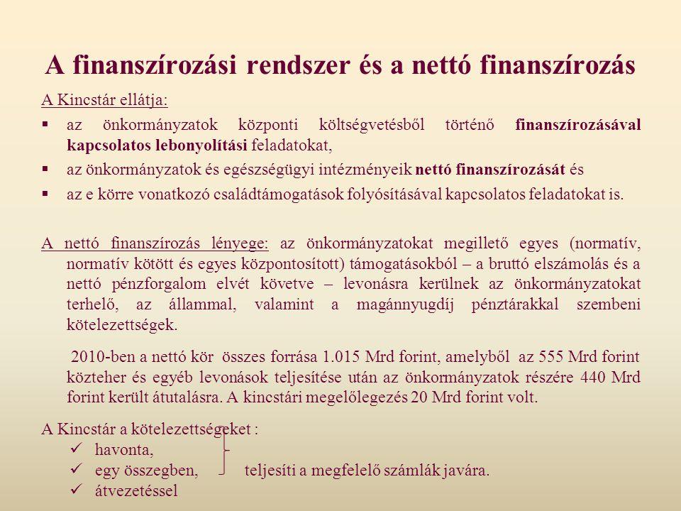 A Kincstár ellátja:  az önkormányzatok központi költségvetésből történő finanszírozásával kapcsolatos lebonyolítási feladatokat,  az önkormányzatok
