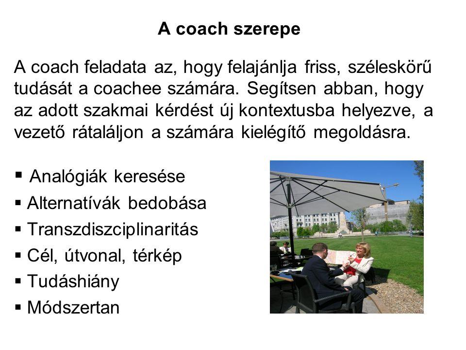 A coach feladata az, hogy felajánlja friss, széleskörű tudását a coachee számára. Segítsen abban, hogy az adott szakmai kérdést új kontextusba helyezv