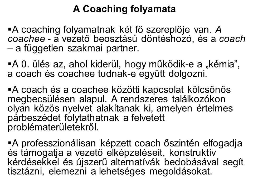 A coaching folyamatnak két fő szereplője van. A coachee - a vezető beosztású döntéshozó, és a coach – a független szakmai partner.  A 0. ülés az, a