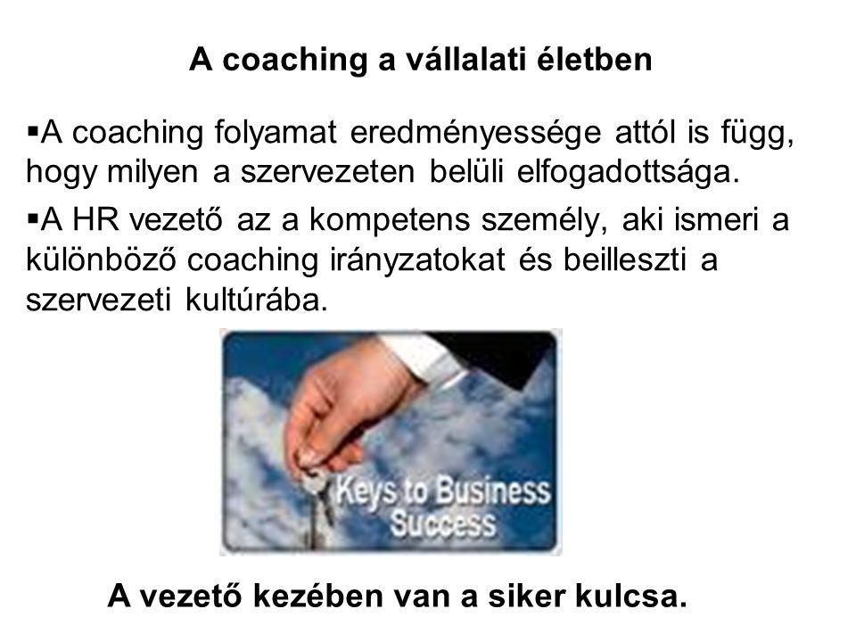  A coaching folyamat eredményessége attól is függ, hogy milyen a szervezeten belüli elfogadottsága.  A HR vezető az a kompetens személy, aki ismeri