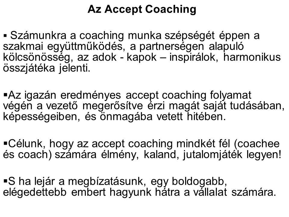  Számunkra a coaching munka szépségét éppen a szakmai együttműködés, a partnerségen alapuló kölcsönösség, az adok - kapok – inspirálok, harmonikus ös