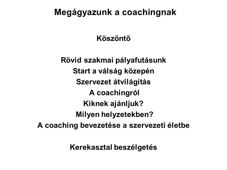 Köszöntő Rövid szakmai pályafutásunk Start a válság közepén Szervezet átvilágítás A coachingról Kiknek ajánljuk? Milyen helyzetekben? A coaching bevez