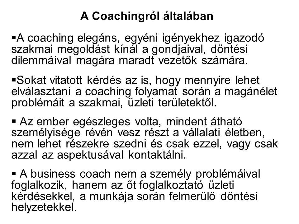  A coaching elegáns, egyéni igényekhez igazodó szakmai megoldást kínál a gondjaival, döntési dilemmáival magára maradt vezetők számára.  Sokat vitat