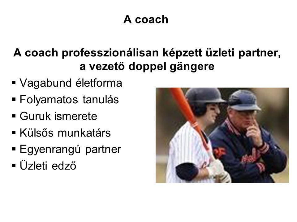 A coach professzionálisan képzett üzleti partner, a vezető doppel gängere  Vagabund életforma  Folyamatos tanulás  Guruk ismerete  Külsős munkatár