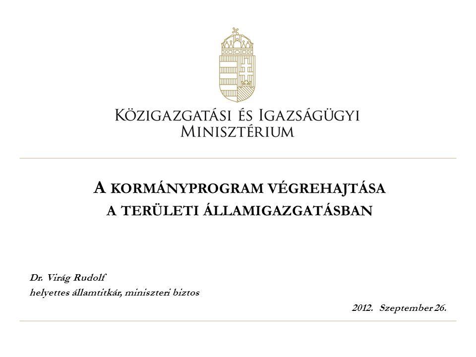 A KORMÁNYPROGRAM VÉGREHAJTÁSA A TERÜLETI ÁLLAMIGAZGATÁSBAN Dr. Virág Rudolf helyettes államtitkár, miniszteri biztos 2012. Szeptember 26.