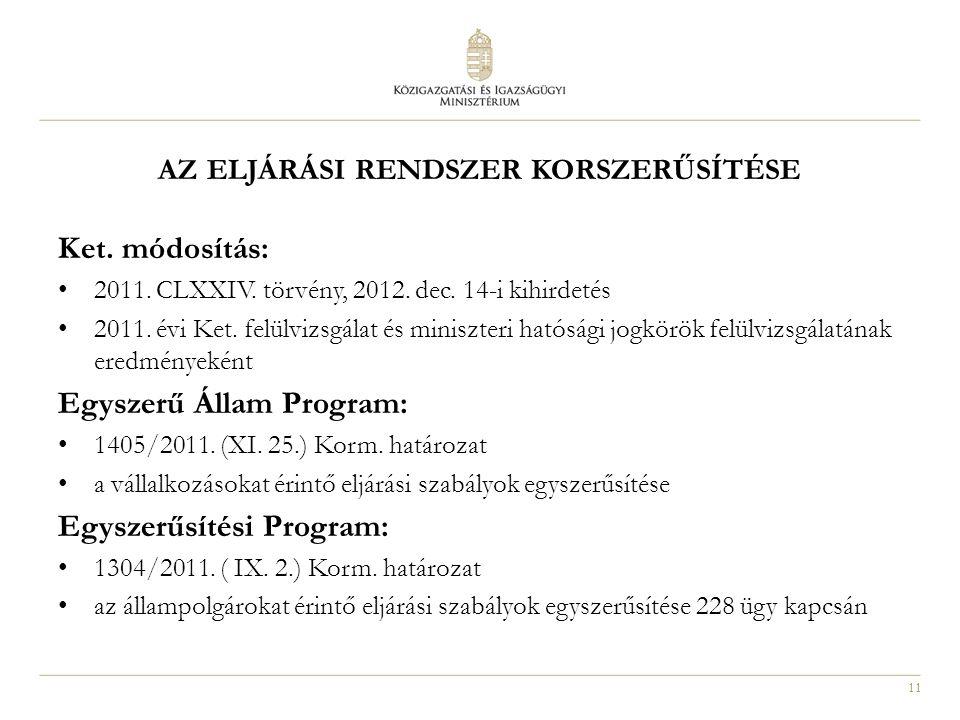 11 AZ ELJÁRÁSI RENDSZER KORSZERŰSÍTÉSE Ket. módosítás: 2011. CLXXIV. törvény, 2012. dec. 14-i kihirdetés 2011. évi Ket. felülvizsgálat és miniszteri h