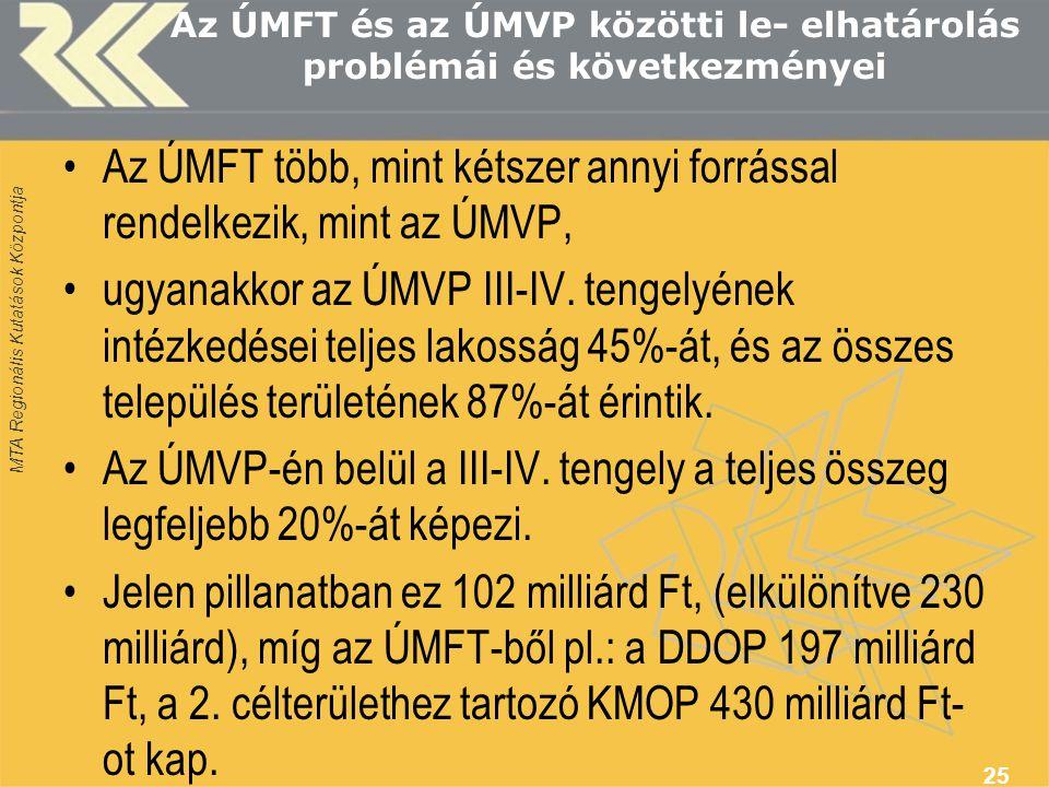 MTA Regionális Kutatások Központja Az ÚMFT és az ÚMVP közötti le- elhatárolás problémái és következményei Az ÚMFT több, mint kétszer annyi forrással rendelkezik, mint az ÚMVP, ugyanakkor az ÚMVP III-IV.