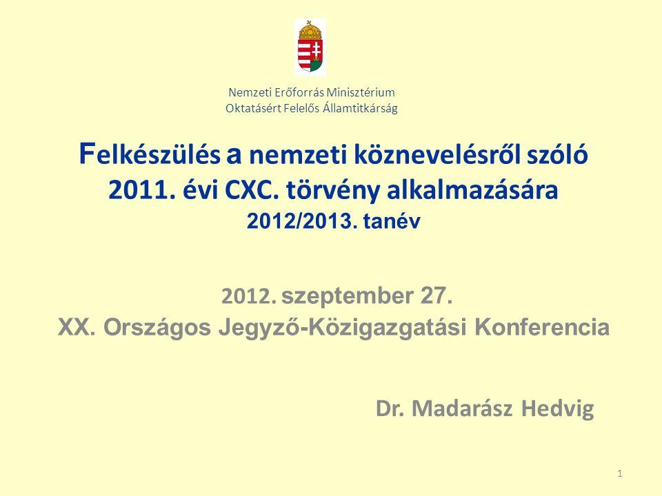 1 F elkészülés a nemzeti köznevelésről szóló 2011. évi CXC. törvény alkalmazására 2012/2013. tanév 2012. szeptember 27. XX. Országos Jegyző-Közigazgat