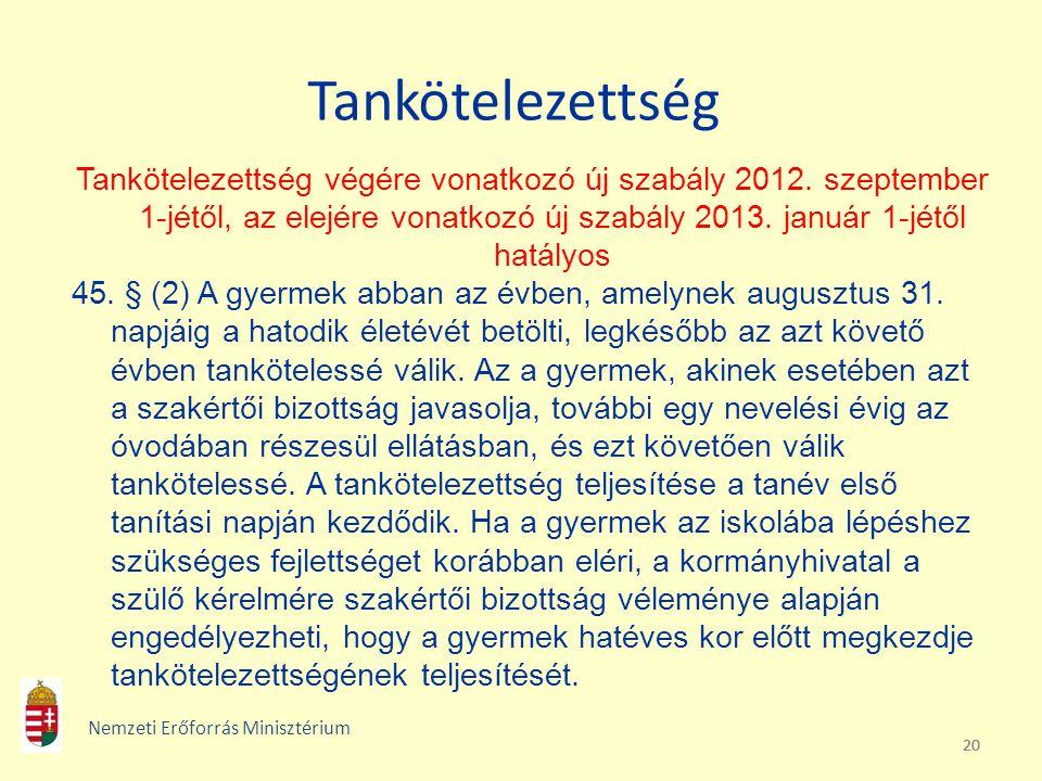 20 Tankötelezettség Tankötelezettség végére vonatkozó új szabály 2012. szeptember 1-jétől, az elejére vonatkozó új szabály 2013. január 1-jétől hatály