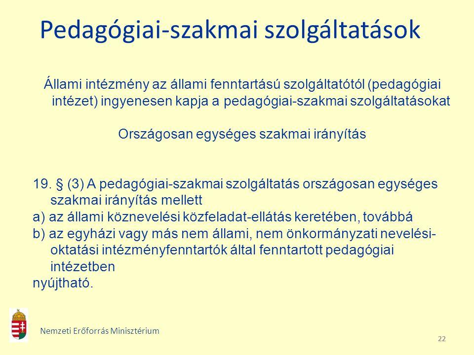 22 Pedagógiai-szakmai szolgáltatások Állami intézmény az állami fenntartású szolgáltatótól (pedagógiai intézet) ingyenesen kapja a pedagógiai-szakmai