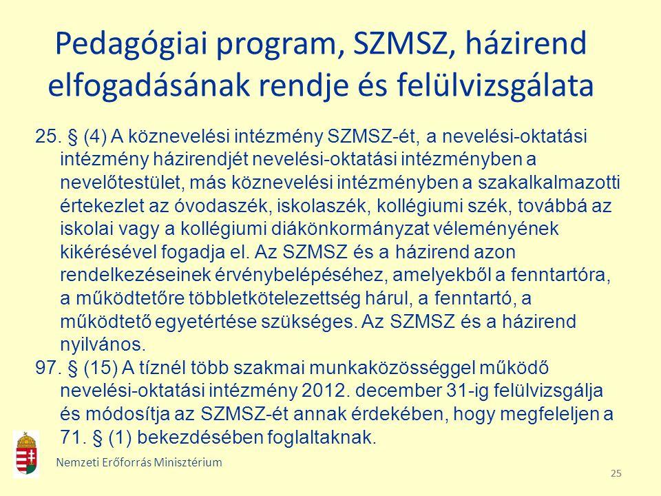 25 Pedagógiai program, SZMSZ, házirend elfogadásának rendje és felülvizsgálata 25. § (4) A köznevelési intézmény SZMSZ-ét, a nevelési-oktatási intézmé