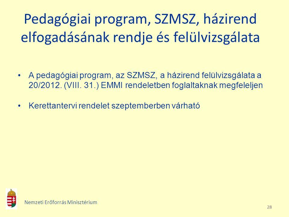28 Pedagógiai program, SZMSZ, házirend elfogadásának rendje és felülvizsgálata A pedagógiai program, az SZMSZ, a házirend felülvizsgálata a 20/2012. (