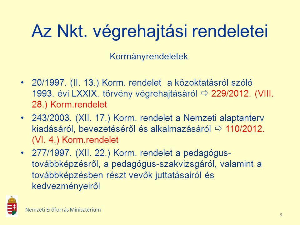 333 Az Nkt. végrehajtási rendeletei Kormányrendeletek 20/1997. (II. 13.) Korm. rendelet a közoktatásról szóló 1993. évi LXXIX. törvény végrehajtásáról
