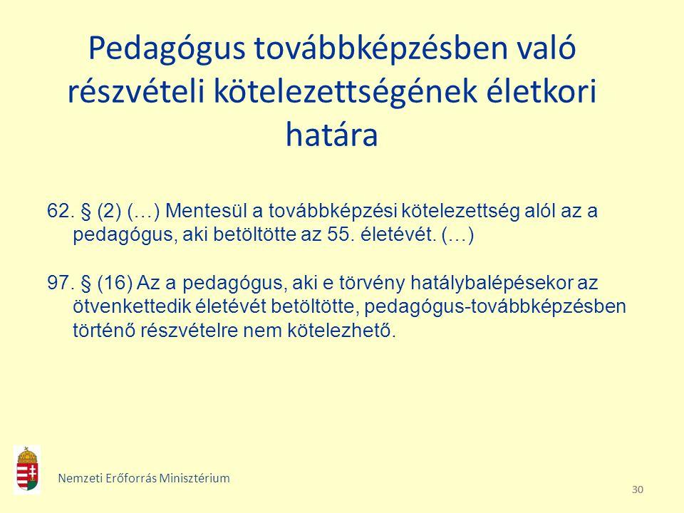 30 Pedagógus továbbképzésben való részvételi kötelezettségének életkori határa 62. § (2) (…) Mentesül a továbbképzési kötelezettség alól az a pedagógu