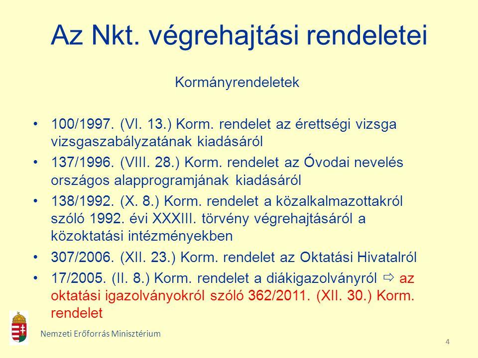 444 Az Nkt. végrehajtási rendeletei Kormányrendeletek 100/1997. (VI. 13.) Korm. rendelet az érettségi vizsga vizsgaszabályzatának kiadásáról 137/1996.