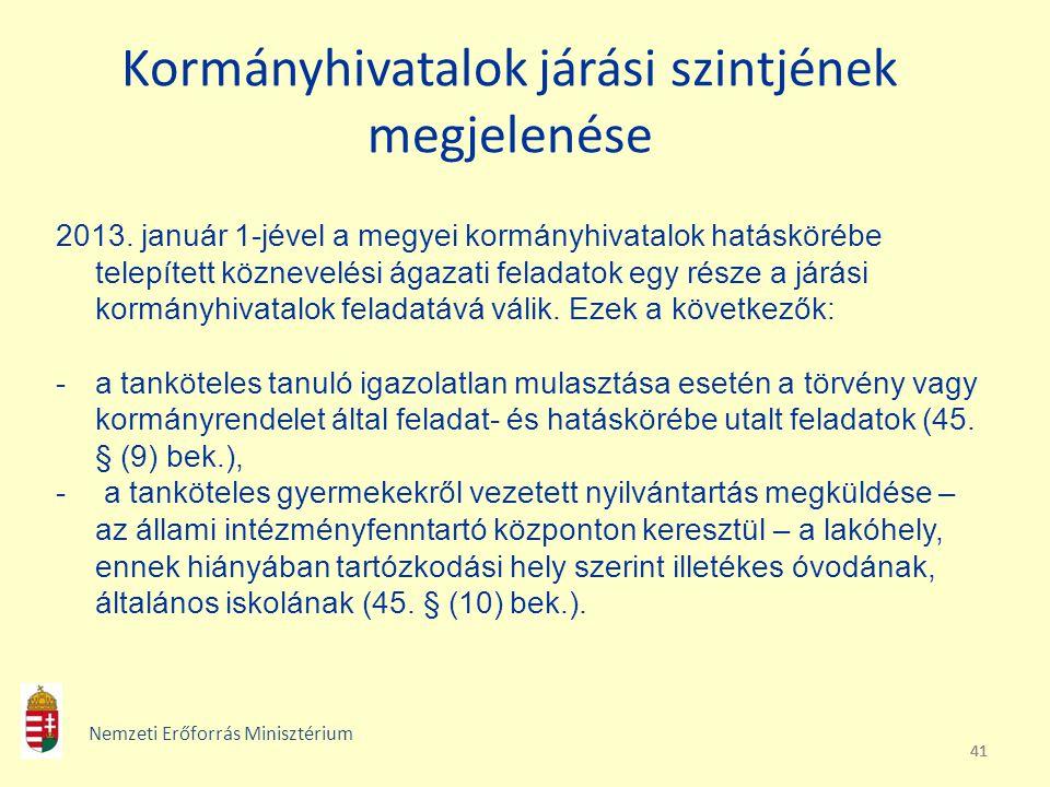 41 Kormányhivatalok járási szintjének megjelenése 2013. január 1-jével a megyei kormányhivatalok hatáskörébe telepített köznevelési ágazati feladatok